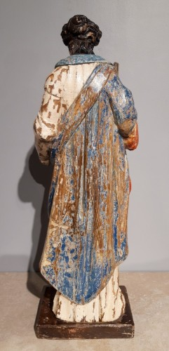 Antiquités - Saint Cecile In Carved painted Wood, 17th Century