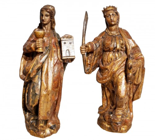 Saint Catherine of Alexandria and Saint Beard carved and polychrome 17th ce