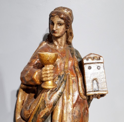 Saint Catherine of Alexandria and Saint Beard carved and polychrome 17th ce - Sculpture Style Louis XIV