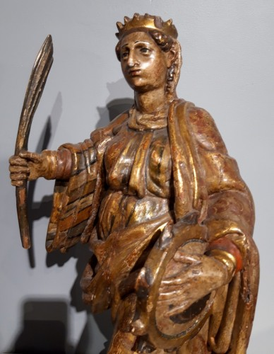 Sculpture  - Saint Catherine of Alexandria and Saint Beard carved and polychrome 17th ce