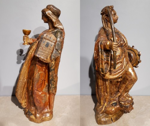 17th century - Saint Catherine of Alexandria and Saint Beard carved and polychrome 17th ce