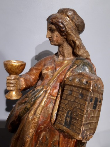Saint Catherine of Alexandria and Saint Beard carved and polychrome 17th ce - Louis XIV