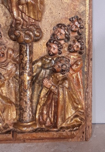 Religious Antiques  - Spain Wood panel, gilt and polychrome, 17th century