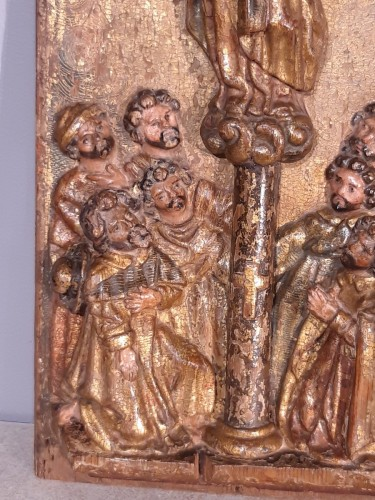 17th century - Spain Wood panel, gilt and polychrome, 17th century