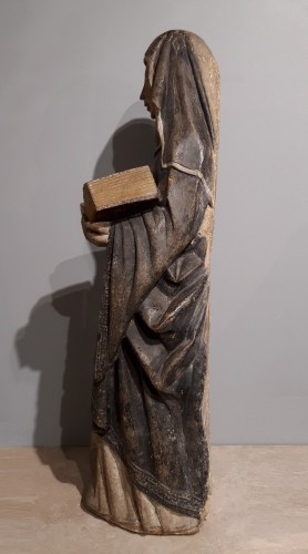 French Holy, carved stone, 15th century - Sculpture Style Middle age