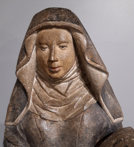 Sculpture  - French Holy, carved stone, 15th century