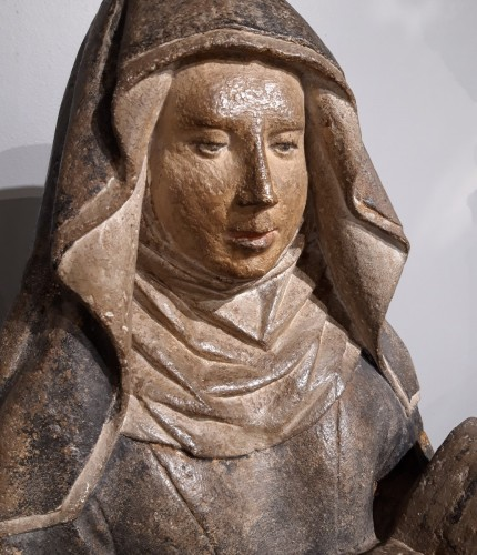 French Holy, carved stone, 15th century - Middle age