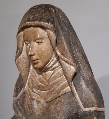 Middle age - French Holy, carved stone, 15th century