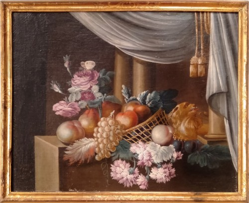 French still life painting, signed Vernet, 18th century