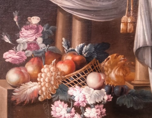 French still life painting, signed Vernet, 18th century - Paintings & Drawings Style Louis XVI