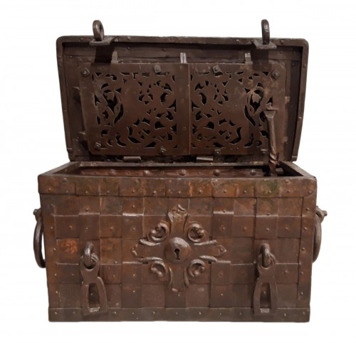 Wrought iron treasure chest 17th century