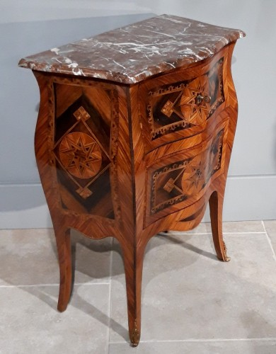 Small Italian Commode, Inlaid, 18th Century - Furniture Style Louis XV