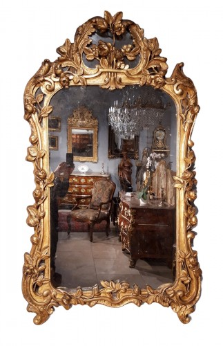 French Louis XV Mirror, Gild Wood, 18th Century