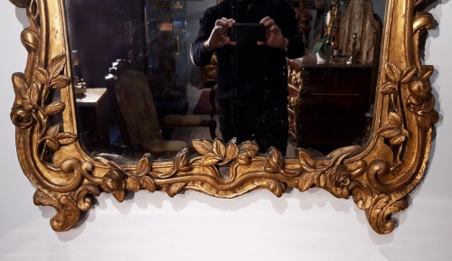 French Louis XV Mirror, Gild Wood, 18th Century - Louis XV