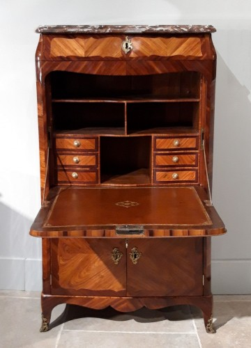 French parisian secretary Louis XV stamped L. BOUDIN (1735-1804) - Furniture Style Louis XV