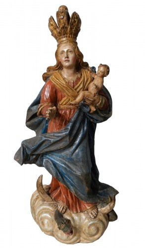 Virgin and Child carved wood and polychrome - 18th century