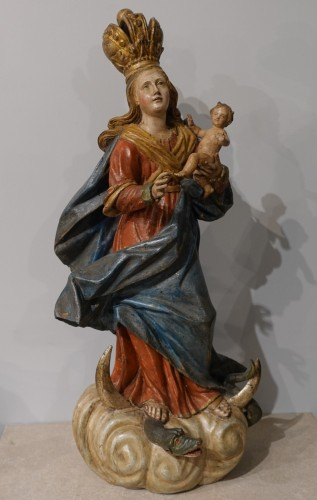 Virgin and Child carved wood and polychrome - 18th century  - Sculpture Style Louis XV