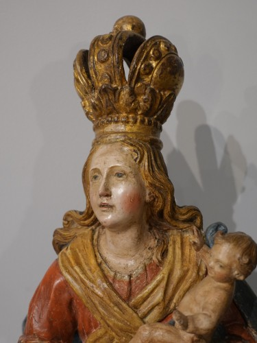 Virgin and Child carved wood and polychrome - 18th century  - Louis XV