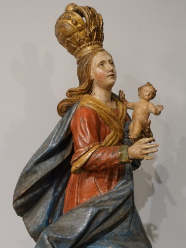 Antiquités - Virgin and Child carved wood and polychrome - 18th century