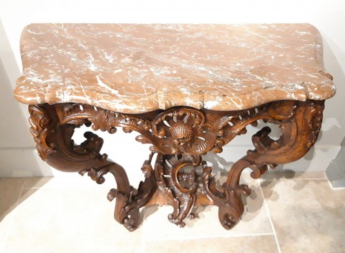 Louis XV console carved oak 18th century - Furniture Style Louis XV