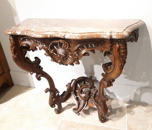 Furniture  - Louis XV console carved oak 18th century