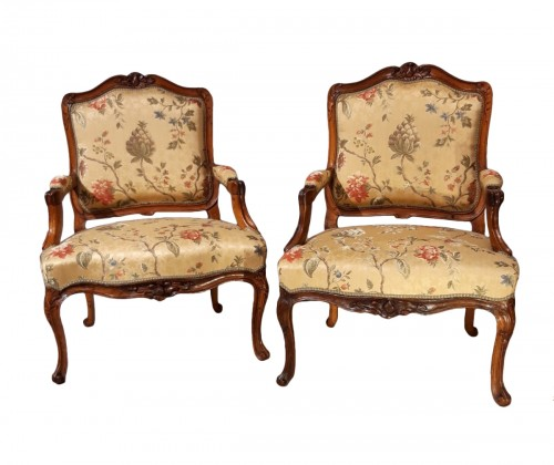 Pair of Louis XV armchairs in walnut, 18th  century