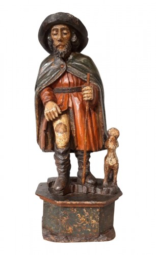 St Roch in polychrome carved wood, 17th century