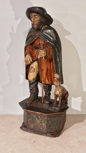 St Roch in polychrome carved wood, 17th century - Sculpture Style Louis XIII