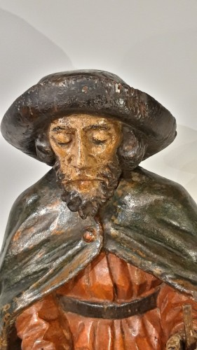 St Roch in polychrome carved wood, 17th century -