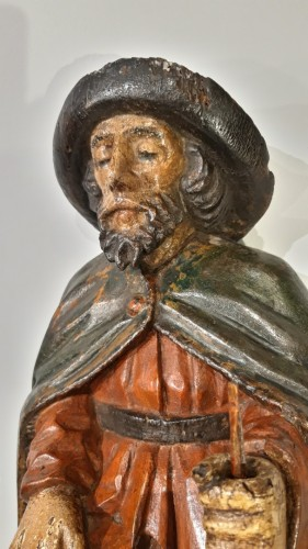 17th century - St Roch in polychrome carved wood, 17th century