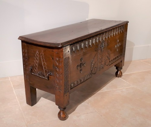 Furniture  - Walnut chest, late 16th early 17th century