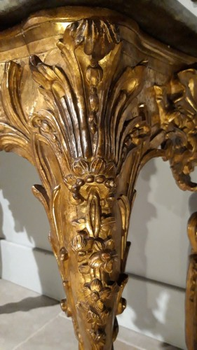 18th century - Exceptional Italian console in gilded wood, 18th  century