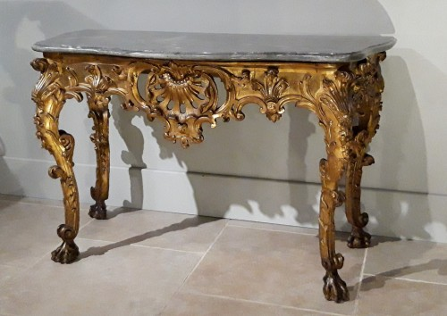 Exceptional Italian console in gilded wood, 18th  century - Louis XV