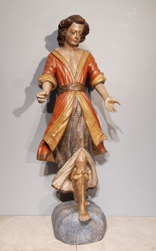 Pair of angels in polychrome wood, Italian school early 18th century - Sculpture Style Louis XV