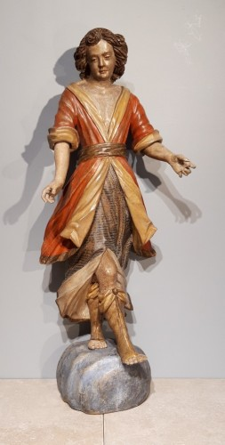 Sculpture  - Pair of angels in polychrome wood, Italian school early 18th century