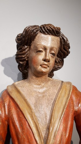 18th century - Pair of angels in polychrome wood, Italian school early 18th century