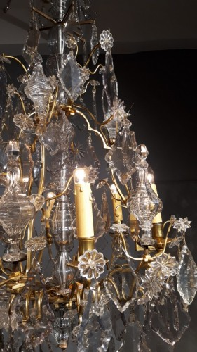 Chandelier in crystal and bronze, 18th century -