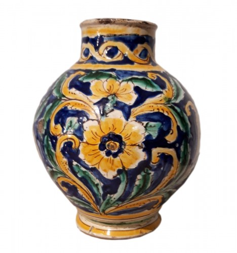 Large polychrome earthenware vase - Sicily - 17th century