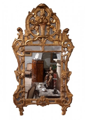 Beaucaire mirror in gilded wood, late 18th century