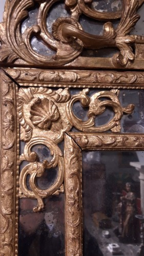 Louis XIV mirror in gilded wood, with glazing beads from the end of the 17t -