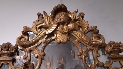 Louis XIV mirror in gilded wood, with glazing beads from the end of the 17t - Louis XIV