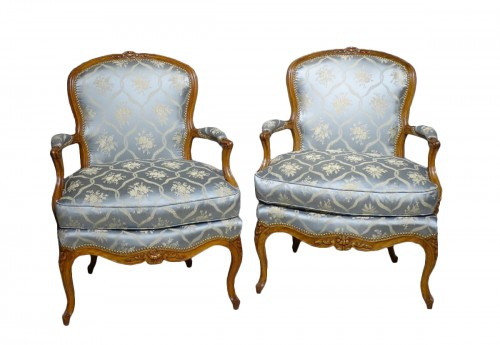 Pair of cabriolet armchairs, Louis XV stamped OTHON