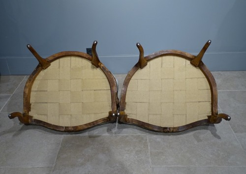 Antiquités - Pair of cabriolet armchairs, Louis XV stamped OTHON
