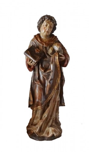 Saint Stephen in polychrome carved wood, 17th century