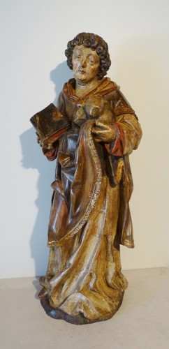 Sculpture  - Saint Stephen in polychrome carved wood, 17th century