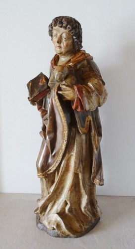 Saint Stephen in polychrome carved wood, 17th century - Louis XIII