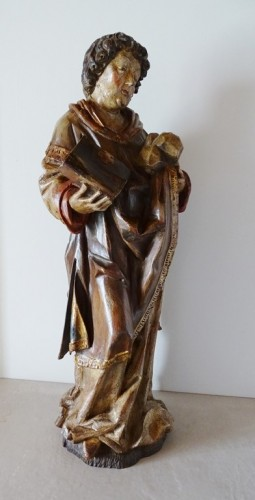 Louis XIII - Saint Stephen in polychrome carved wood, 17th century