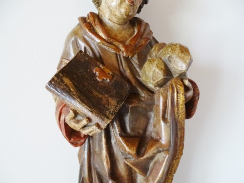 Antiquités - Saint Stephen in polychrome carved wood, 17th century