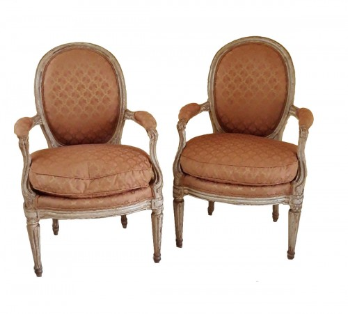 Pair of Louis XVI armchairs ''medallion'' stamped BERNARD