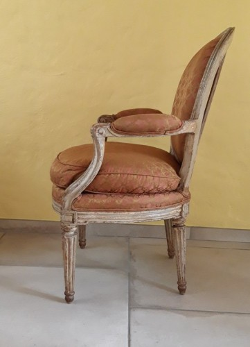 Seating  - Pair of Louis XVI armchairs ''medallion'' stamped BERNARD